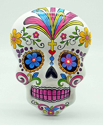Fantasy Gifts White Day of the Dead Sugar Skull Wall Plaque With LED Eyes Dia De Los Muertos