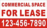 [Vinyl] 3ftX5ft Custom Printed COMMERCIAL SPACE FOR LEASE Banner Sign with Your Phone Number
