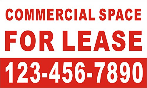 [Vinyl] Alice Graphics 3ftX5ft Custom Printed Commercial Space for Lease Banner Sign with Your Phone -