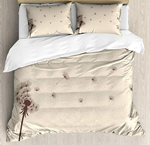 SINOVAL Cream Duvet Cover Set Queen Size, Blown Dandelion Blossom and Flying Fluffy Petals Fragile Garden Meadow Plant Vintage,Fashion 3 Piece Bedding Set with 2 Pillow Shams, Cream Brown