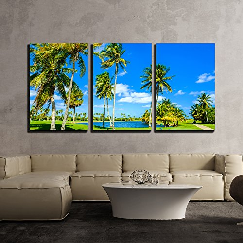wall26 - 3 Piece Canvas Wall Art - Beautiful Golf Course Landscape in Miami. - Modern Home Decor Stretched and Framed Ready to Hang - 24