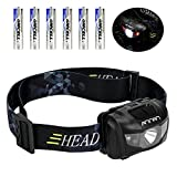 Ultra Bright LED Headlamp Flashlight, ANNAN 350 Lumens Q5 Headlight with Red Safety Light, 5 Modes, Waterproof, Portable, Great for Camping, Biking, Running, Hiking, 6 AAA Batteries Included Review