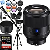 Sony Zeiss Prime Full-Frame Planar T FE 50mm F1.4 ZA E-Mount Lens with Sandisk 64GB UHS-I SDXC Card Plus 72mm Filter Sets Bundle