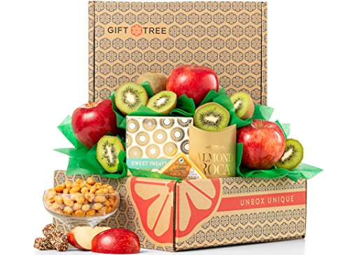 y GiftTree | Gourmet Gift Basket with fresh from the orchard pears, crisp apples, juicy premium kiwis and savory snacks. Each item is individually wrapped and assembled by hand (Gifttree Fruit Basket)