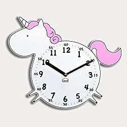 BEZIT Non-Ticking, Silent 11-Inch Wall Clock – Decorative, Modern, Clean, Cute, Kid-Friendly Design For Indoor, Office, Home, Baby Room (Pink Unicorn)