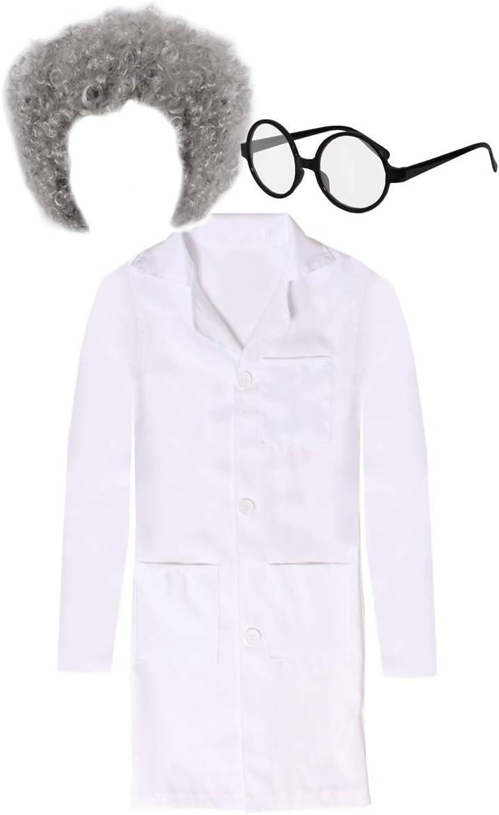 infantil científico Disfraz con Peluca y Gafas - Blanco Bata de ...