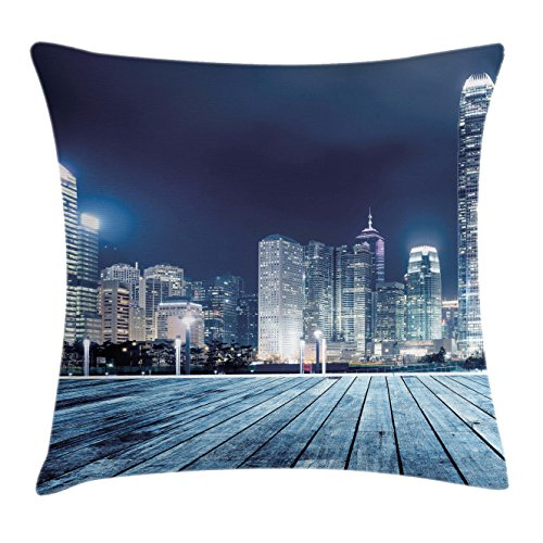 Ambesonne Landscape Throw Pillow Cushion Cover by, Asia China Hong Kong City Skyline View at Blue Night Towers and Skyscapers Photo, Decorative Square Accent Pillow Case, 20 X 20 Inches, Navy Blue ()