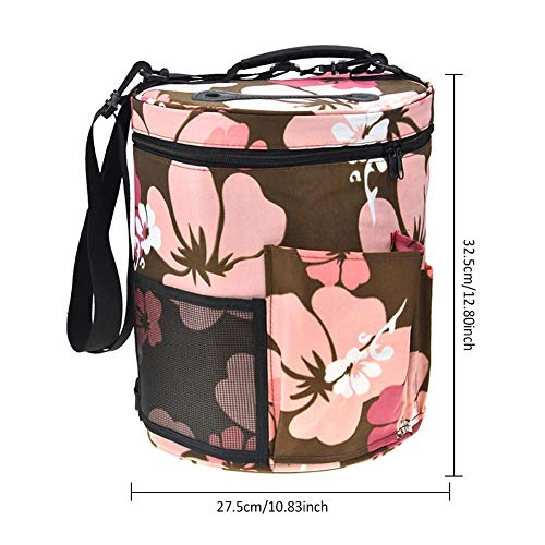 Woolen Yarn Storage Bag Portable Tote Light and Easy to Carry Pockets Accessories Organizer organizing with Shoulder Strap Home as Crossbody Print Large-Sized Cylinder by sweetyhomes (Image #6)