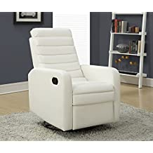 Monarch Specialties I 8086WH White Bonded Leather Swivel Glider Recliner