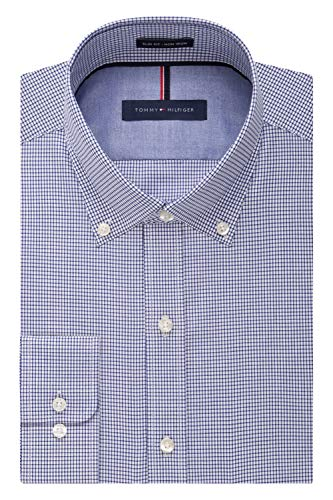 Tommy Hilfiger Men's Non Iron Slim Fit Check Button Down Collar Dress Shirt, Ocean, 15