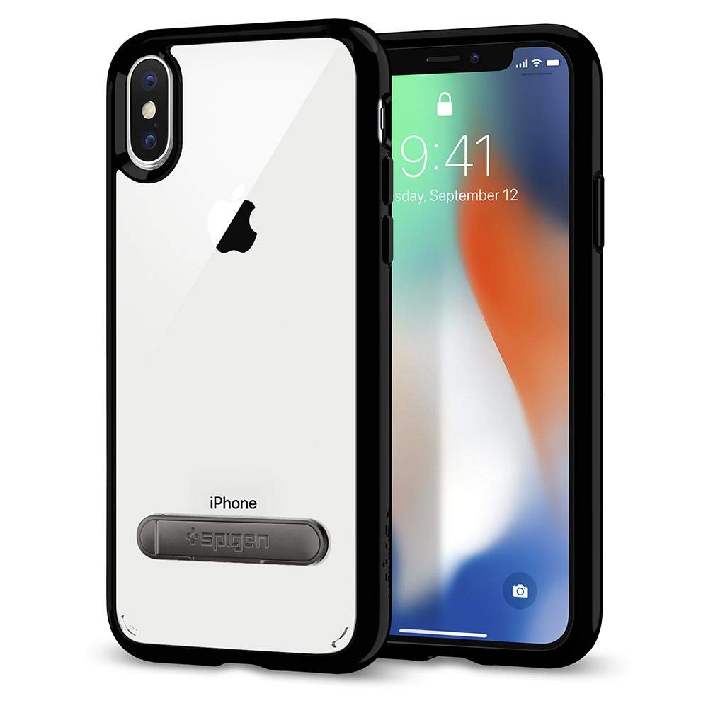 Spigen Ultra Hybrid S with Air Cushion Technology and Magnetic Metal Kickstand Designed for Apple iPhone Xs (2018) / Designed for Apple iPhone X Case (2017) - Crystal Clear 057CS22133