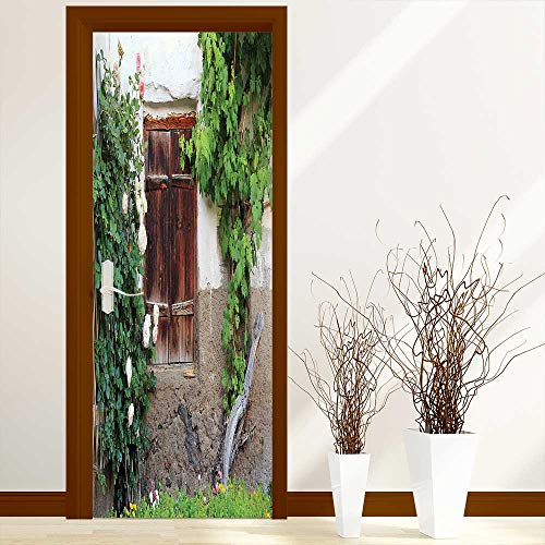L-QN Creative Door Stickers Bedroom Doors Collection The Old Windows with Wooden Shutters Roses and Wine Country House Backyard Indoor and Outdoor use W23.6 x H78.7 inch