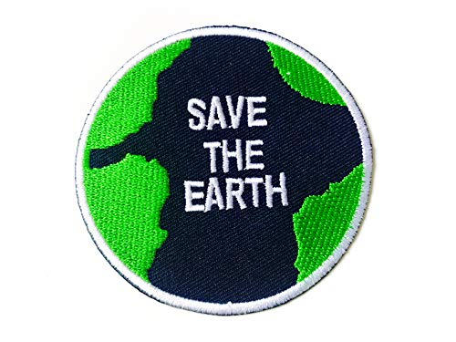 Tyga_Thai Brand Save The Earth World Love Planet Map Logo Peace Logo Sew on Iron on Embroidered Applique Badge Sign Patch (Iron-TheEarthPlanet-MAP) (Earth Planet Patches)