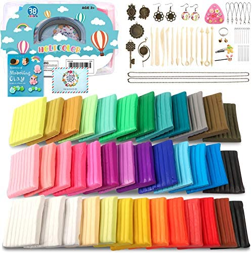 HOLICOLOR 38 Colors (1.4 Ounce Per Pack) Polymer Clay Kit Includes Extra 1 White and 1 Black Oven Bake ClayAccessories Sets and 14 Sculpting Tools Manual Book Magic Modeling Clay kit