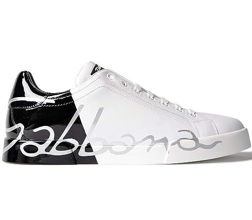 Dolce   Gabbana Sneaker Bassa in Pelle CS1558 AN172 89697 Bianco Nero (39.5  EU - 2882e3b9b54