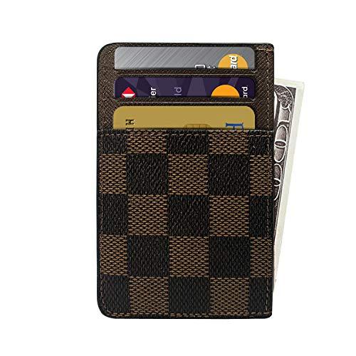 Slim RFID Credit Card Holder Minimalist Front Pocket Leather Wallet - Brown (Louis Vuitton Man Purse)