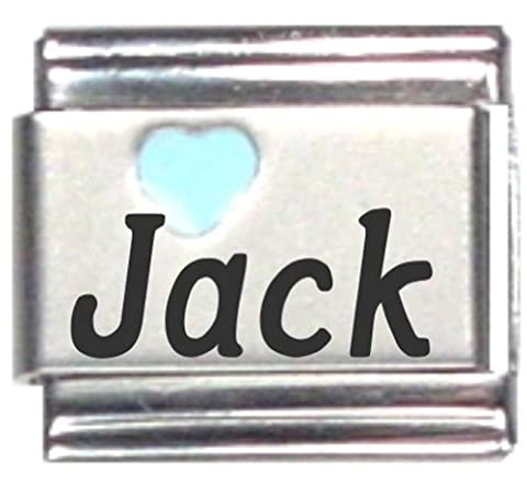 Jack Light Blue Heart Laser Name Italian Charm Link - Jack Heart Charm