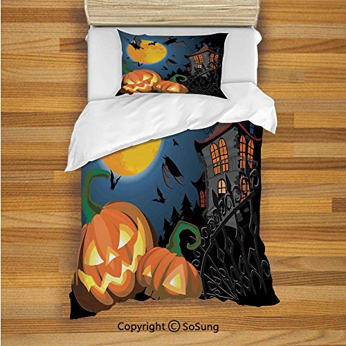 Halloween Decorations Kids Duvet Cover Set Twin Size, Gothic Halloween Haunted House Party Theme Decor Trick or Treat for Kids 2 Piece Bedding Set with 1 Pillow Sham,Multi -