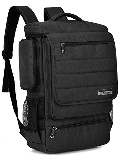 Laptop Backpack,SOCKO Multifunctional Unisex Luggage & Travel Bags Knapsack,rucksack Backpack Hiking Bags Students School Shoulder Backpacks Fits Up to 17.3 Inch Laptop Macbook Computer,Black