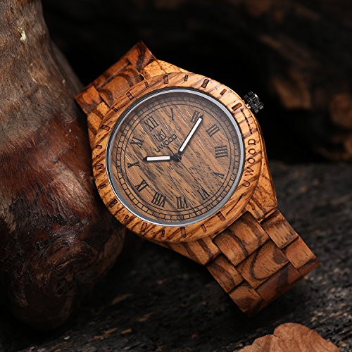 Uwood Luxury Brand Zebra Sandal Wooden Mens Quartz Watches Fashion Natural Wood Watch
