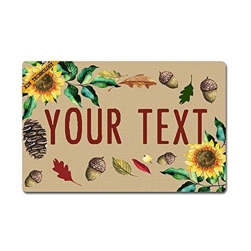 (Artsbaba Doormat Personalized Your Text Door Mat Sunflower Pine Cones Doormats Monogram Non-Slip Doormat Non-Woven Fabric Floor Mat Indoor Entrance Rug Decor Mat 23.6