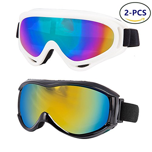 LJDJ Ski Goggles, Pack of 2 - Snowboard Adjustable UV 400 Protective Motorcycle Goggles Outdoor Tactical Activities Glasses Dust-proof Combat Military Sunglasses for Kids Boys & Girls Youth, Men - Sunglass Snowboard
