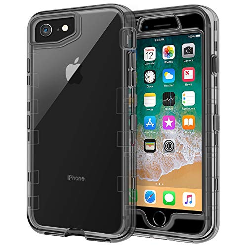 iPhone 8 Case, iPhone 7 Case, Anuck 3 in 1 Heavy Duty Defender Shockproof Full-Body Clear Protective Case Hard Plastic Shell & Soft TPU Bumper Cover for Apple iPhone 8 & iPhone 7 4.7