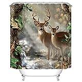 Goodbath Animal Deer Shower Curtain, Nature Wildlife Forest Print Waterproof Mildew Resistant Polyester Bathroom Bath Curtains, 72 x 72 Inch, Brown