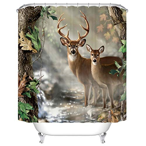 Goodbath Deer Shower Curtain, Wildlife Animal Deers in Forest Print Waterproof Polyester Bathroom Bath Curtains, 72 x 72 Inch, Brown