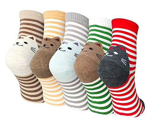 Womens Girls Cute Cat Cotton Socks Comfortable Colorful Funny Casual Animal Pattern Crew Sock, 5 Pairs, US womens shoe 5-10