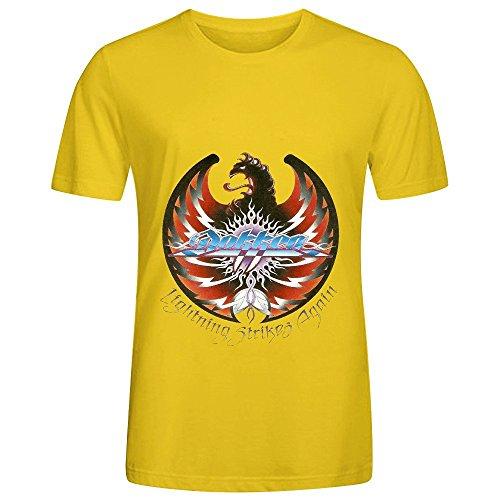 Dokken Lightning Strikes Again Greatest Hits Men Crew Neck Cotton Shirt Yellow (Lands End Crew Shirt)