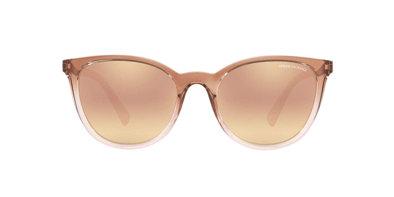 A|X Armani Exchange Womens AX4077S Pillow Sunglasses, Transparent Tundra & Rose/Grey Mirror Rose Gold, 55 mm