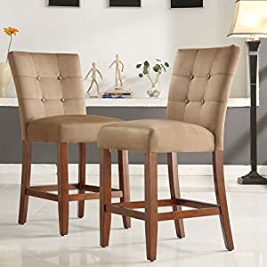 Amazon Com Counter Height Bar Stools Tufted Button Back