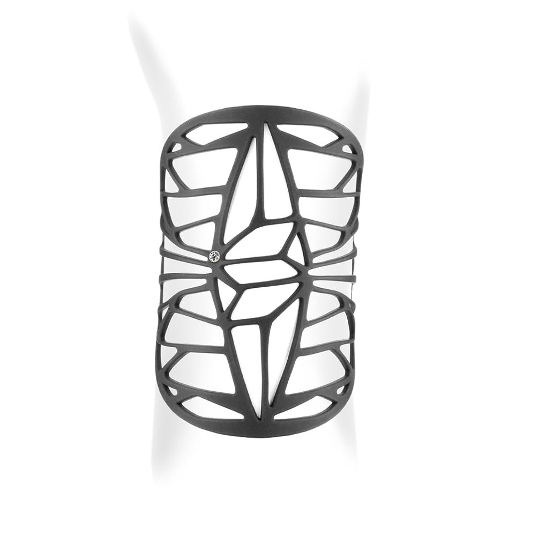 Pulsera del Brazalete Design de la goma silicona Negra efecto tatuaje - LAD 0110 G - Blue Pearls