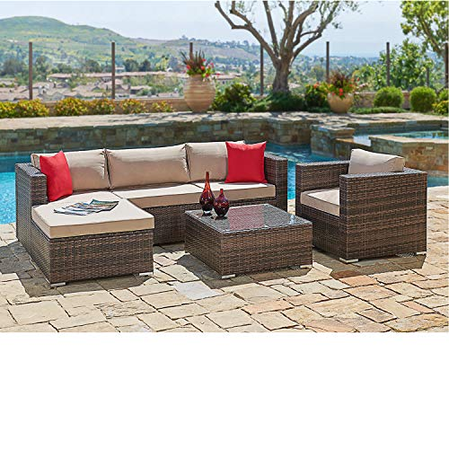 SUNCROWN Outdoor Patio Furniture Sectional Sofa and Chair (6-Piece Set) All-Weather Brown Wicker with Seat Cushion and Modern Glass Coffee Table, Garden, Backyard, Pool, Waterproof Cover (Ikea Outdoor Furniture Sectional)
