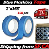Blue Painters Tape Clean Release Trim Edge Finishing Masking Tape (1''x165',108 Rolls)