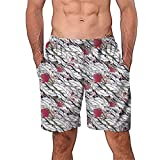 NUWFOR Men Casual 3D Graffiti Printed Beach Work Casual Men Short Trouser Shorts Pants(Z2-Multicolor,US:S Waist26.0-29.9'')