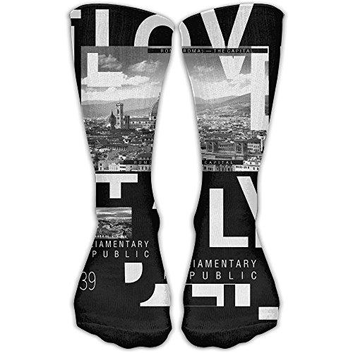 ZHONGJIAN Unisex Knee High Long Socks I Love Italy School Uniform High Long Stockings - Rapper Rome