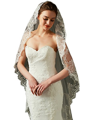 "LynnBridal Scalloped Lace Tulle Wedding Veil Waltz Length 79"" Long Ivory"