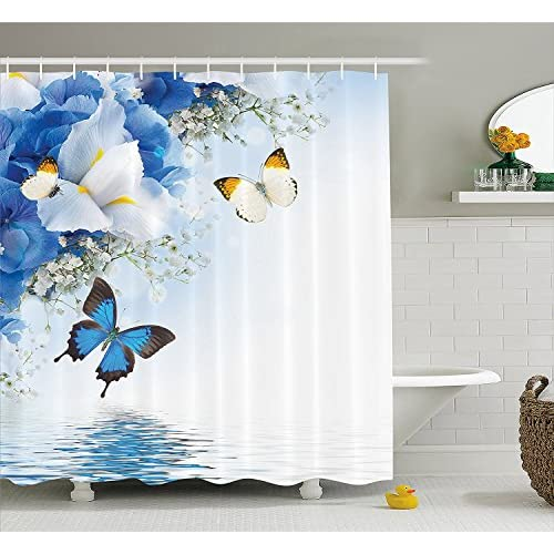 Fabric Shower Curtain 72x84 Inches Resort Spa Home Decor Blue White Wild Flowers Monarch Yellow