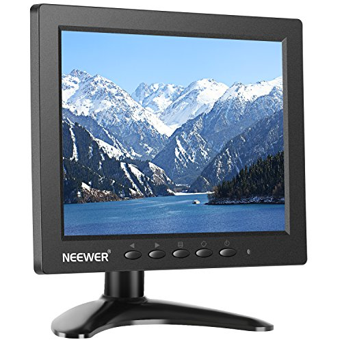 Neewer NW801H 8 inches Monitor with 4:3 TFT-LCD Screen 1024x768 Resolution,500:1 Contrast,HDMI VGA BNC AV Input Audio,Built-in Speaker for DSLR, PC, CCTV Camera, DVD and Car Backup Camera (Best Resolution Cctv Camera)