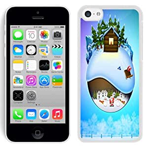 NEW Fashion Custom Designed Cover Case For iPhone 5C Snowy Christmas White Phone Case