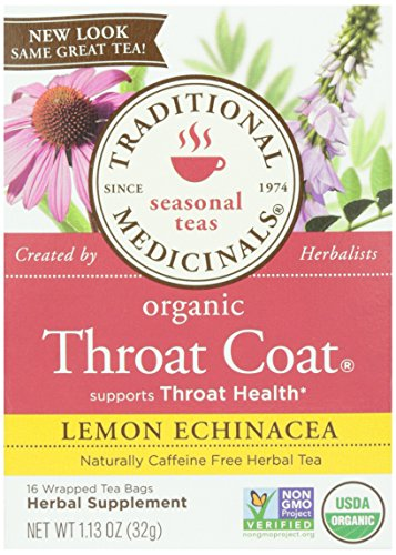 Traditional Medicinals, Organic Lemon Echinacea Throat Coat, 16 ct