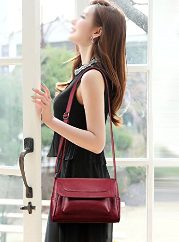 Women Multi Purse for Flap Leather Bag Cross Body Bags Phone Burgundy Pocket Felice Pu Cell 1pwOqwY