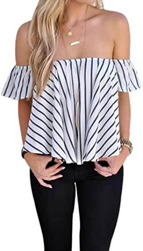 Lisingtool Women's Off Shoulder Stripe Casual Blouse Shirt Tops