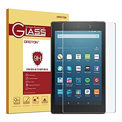 OMOTON All-New Fire HD 8 (2016 Release) Screen Protector, [9H Hardness] [Crystal Clear] [Bubble Free] Tempered Glass Screen Protector for Fire HD 8 Tablet (6th Gen 2016 5th Gen 2015) from OMOTON