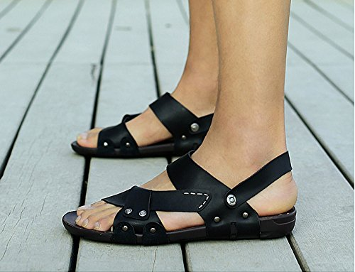 Strap Black Leather Flip Sandals Ankle Mens amp;W With H Casual Flops Moveable Outdoor qBaawP