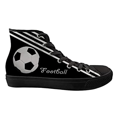 2dda7a8ad5d4 Amazon.com | BELAMOR Mens and Womens Football Soccer Pattern High Top  Canvas Shoes(Black Bottom) | Fashion Sneakers