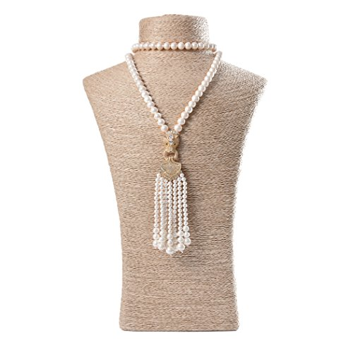 ART KIM Luxury Gold-plate Rhinestone Pendant Single Strand Pearl Tassels Necklaces (Leopard) (Costume Stores Winnipeg)