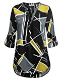 Timeson Long Tunics for Women to wear with Leggings, Henley 3/4 Sleeve Blouses Flowy Dressy Ladies Plaid Shirts Womens Chic Blouses for Work Casual (Yellow Black, X-Large)